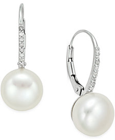 Cultured Freshwater Pearl (10mm) and Diamond (1/10 ct. t.w.) Leverback Earrings in Sterling Silver