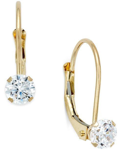 Macy's Cubic Zirconia Leverback Drop Earrings (1/2 ct. t.w.) in 10k Gold