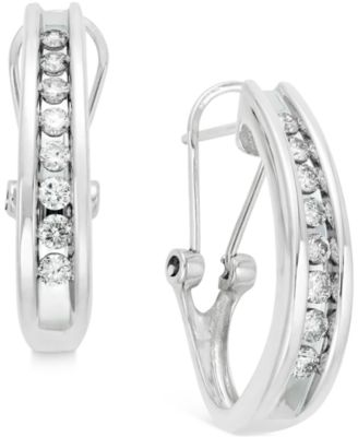 Macy S Diamond Channel Set J Hoop Earrings 1 2 Ct T W In 10k White Or Yellow Gold Jewelry Watches