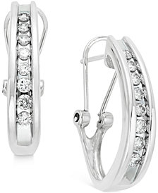 Diamond Channel-Set J-Hoop Earrings (1/2 ct. t.w.) in 10k White or Yellow Gold