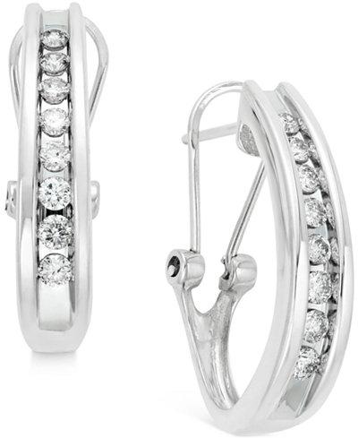 Diamond Channel-Set J-Hoop Earrings (1/2 ct. t.w.) in 10k White or Yellow Gold