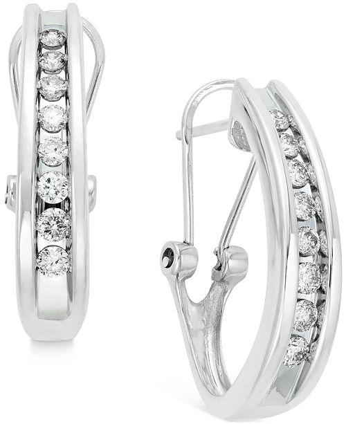 a5edd4f3c Macy's Diamond Channel-Set J-Hoop Earrings (1/2 ct. t.w.) in 10k ...