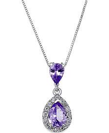 Tanzanite (1 ct. t.w.) and Diamond (1/6 ct. t.w.) Pendant Necklace in 14k White Gold