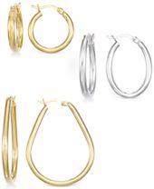 Set of Three Hoop Earrings in 14k Gold, White Gold and Rose Gold Vermeil