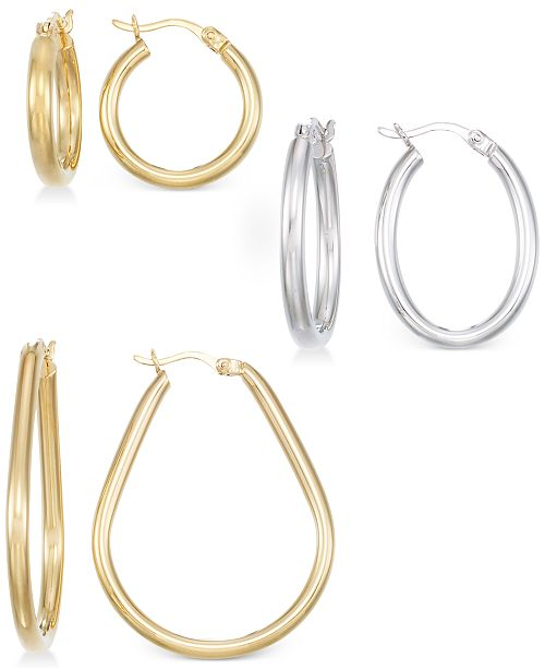 Macy's Set of Three Hoop Earrings in 14k Gold, White Gold and Rose Gold Vermeil