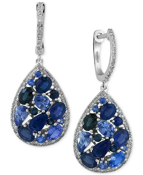 EFFY Collection EFFY Sapphire (3-7/8 ct. t.w.) and Diamond (2/5 ct. t.w.) Drop Earrings in 14k White Gold