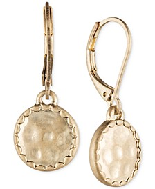 Gold-Tone Hammered Disc Drop Earrings