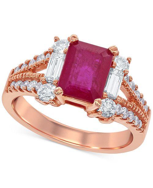 Macy's Ruby (1-3/4 ct. t.w.) and Diamond (7/8 ct. t.w.) Ring in 14k Rose Gold