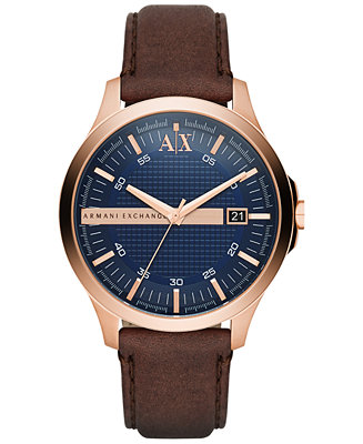 A|X Armani Exchange Men's Dark Brown Leather