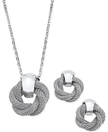 Silver-Tone Twisted Knot Pendant Necklace and Earrings Set, Created for Macy's