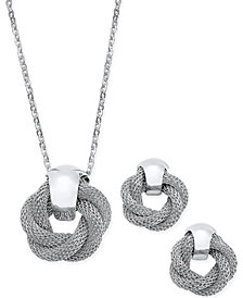 Charter Club Silver-Tone Twisted Knot Pendant Necklace and Earrings Set, Created for Macy's