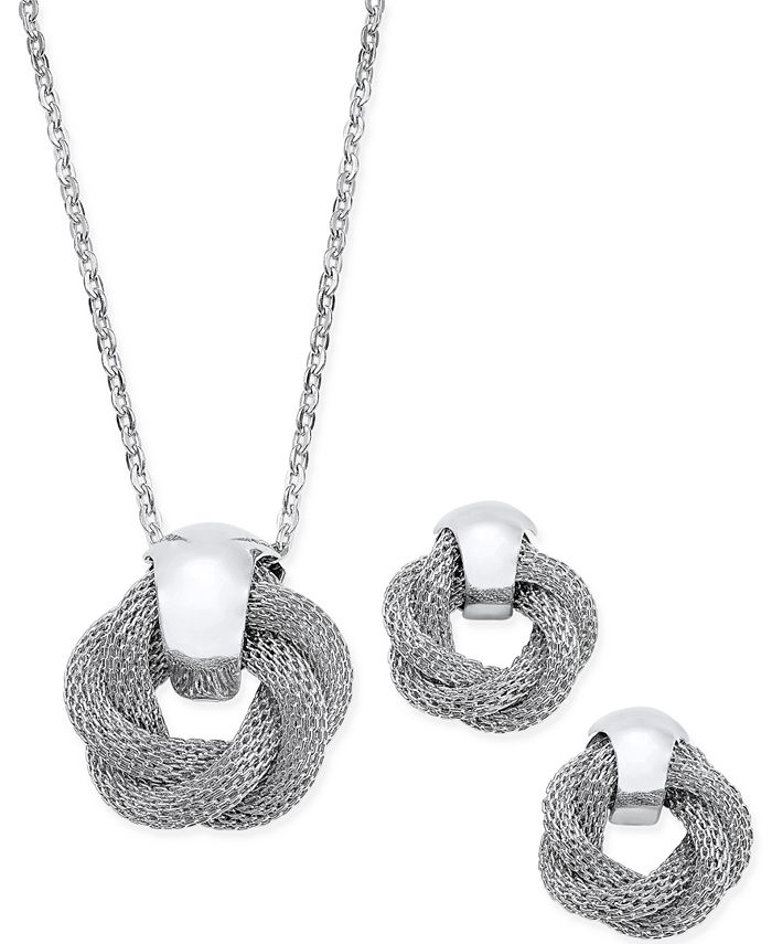 Charter Club - Silver-Tone Twisted Knot Pendant Necklace and Earrings Set