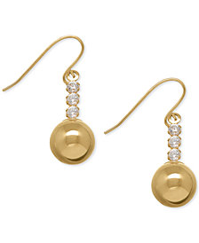 Cubic Zirconia Ball Drop Earrings in 10k Gold