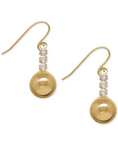 Cubic Zirconia Ball Drop Earrings in 10k Gold
