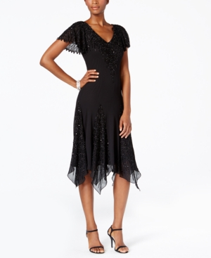 Vintage Inspired Cocktail Dresses, Party Dresses J Kara V-Neck Handkerchief Hem Sparkle Dress $239.00 AT vintagedancer.com
