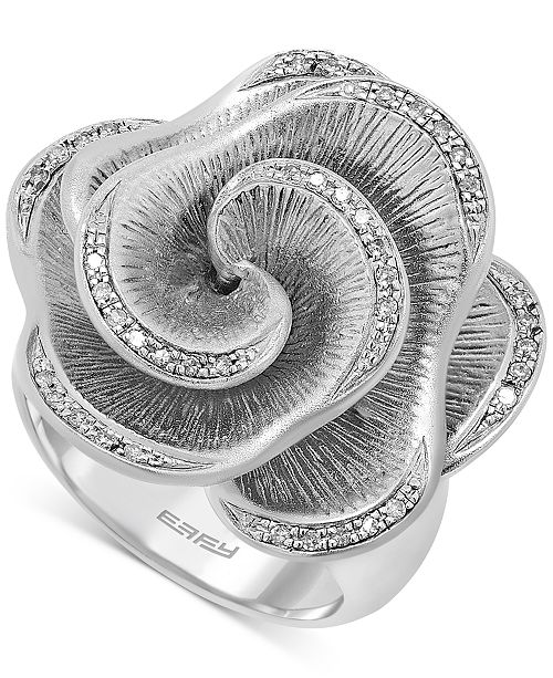 EFFY Collection EFFY Balissima Diamond Open Flower Ring (1/6 ct. t.w.) in Sterling Silver