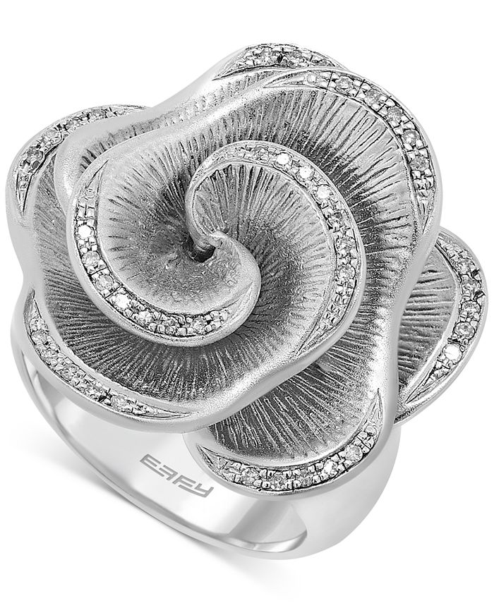 EFFY Collection - Diamond Open Flower Ring (1/6 ct. t.w.) in Sterling Silver