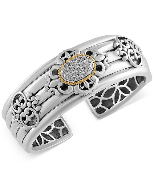 EFFY Collection EFFY® Balissima Diamond Bangle Bracelet (1/3 ct. t.w.) in Sterling Silver and 18k Gold