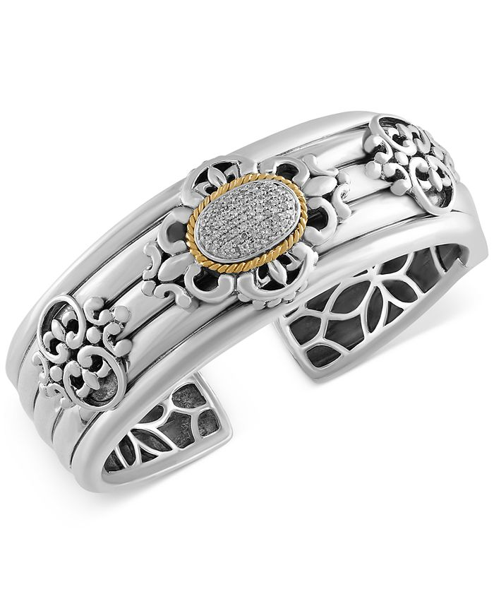 EFFY Collection - Diamond Bangle Bracelet (1/3 ct. t.w.) in Sterling Silver and 18k Gold