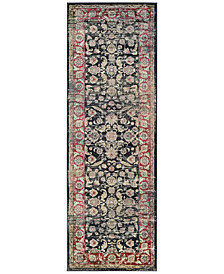 "CLOSEOUT! Couristan HARAZ HAR1143 Black/Red 2'7"" x 7'10"" Runner Rug"