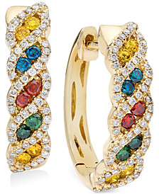 Le Vian Exotics® Diamond Multi-Color Hoop Earrings (3/4 ct. t.w.) in 14k Gold