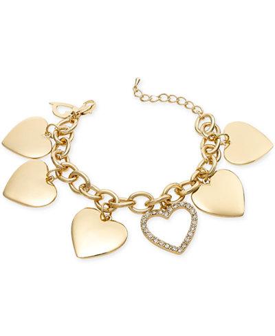 Thalia Sodi Gold-Tone Crystal Heart Charm Bracelet, Only at