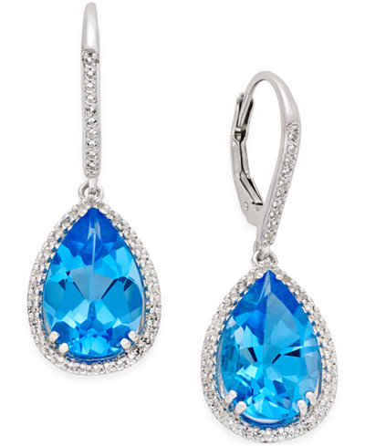 Blue (9-1/2 ct. t.w.) and White Topaz (1/2 ct. t.w.) Halo Earrings in Sterling Silver