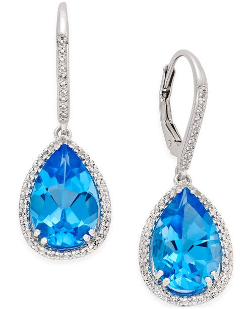 Macy's Blue (9-1/2 ct. t.w.) and White Topaz (1/2 ct. t.w.) Halo Earrings in Sterling Silver