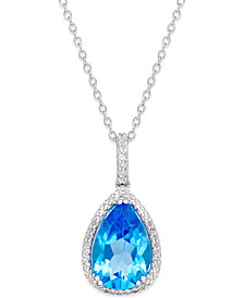 Blue Topaz (4-3/4 ct. t.w.) and White Topaz (1/4 ct. t.w.) Pendant Necklace in Sterling Silver