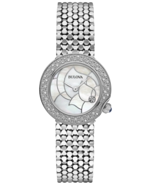 Bulova Women's Diamond Accent Stainless Steel Bracelet Watch 28mm 96R209 - A Macy's Exclusive