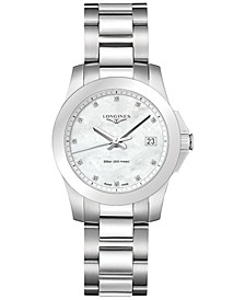 Women's Swiss Conquest Diamond Accent Stainless Steel Bracelet Watch 34mm L33774876