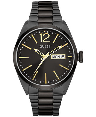 GUESS Men's Black Ion-Plated Stainless Steel Bracelet