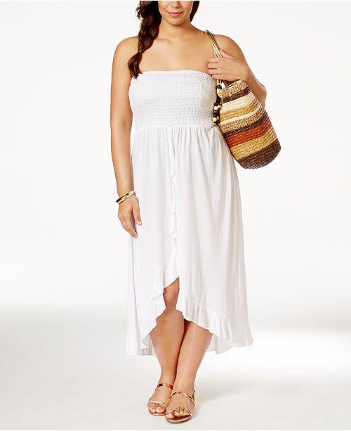 Raviya Plus Size Smocked Waterfall Cover-Up Dress & Reviews ...