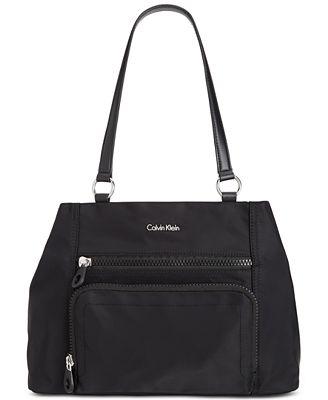Calvin Klein Nylon Zipper Satchel
