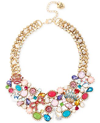 Betsey Johnson Gold-Tone Multi-Stone and Charm Frontal Necklace