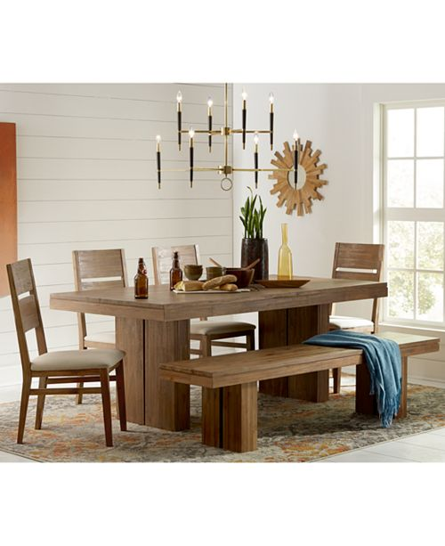Furniture Closeout Champagne Dining Room 7 Piece Set Created For Macy S Trestle Table 6 Side Chairs