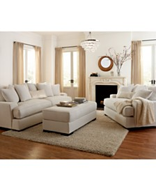 Ainsley Fabric Sofa Living Room Collection  Created for Macy s Ivory Cream Furniture Sets