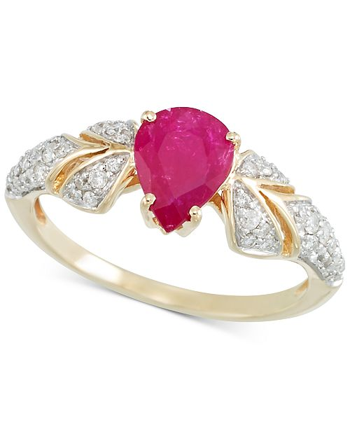RARE Featuring GEMFIELDS Certified Ruby (7/8 ct. t.w.) and Diamond (1/3 ct. t.w.) Ring in 14k Gold