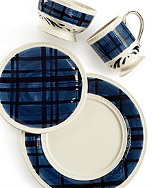 Fitz and Floyd Bristol Indigo Tartan Dinnerware Collection