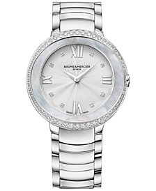 Baume & Mercier Women's Swiss Promesse Diamond (2/3 ct. t.w.) Stainless Steel Bracelet Watch 34mm M0A10199
