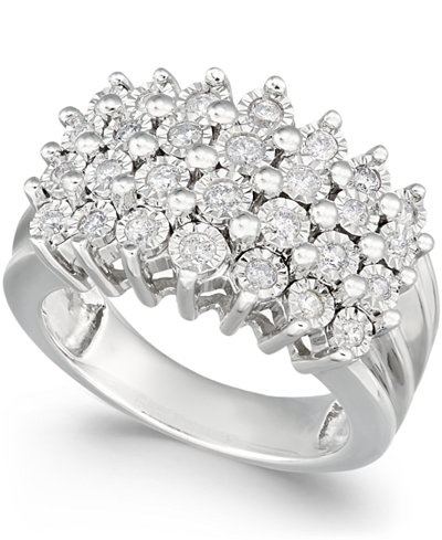 Diamond Multi-Row Ring (1/2 ct. t.w.) in Sterling Silver or 14K Gold Over Sterling Silver