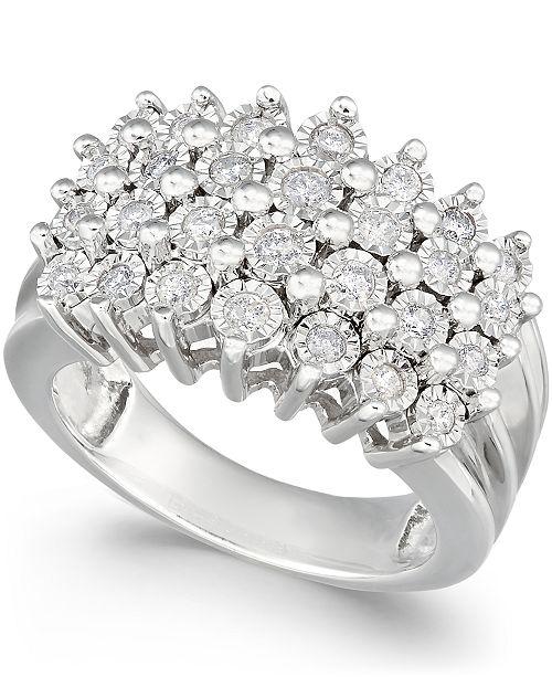 Macy s Diamond Multi-Row Ring (1 2 ct. t.w.) in Sterling Silver or ... 427d69b952e8