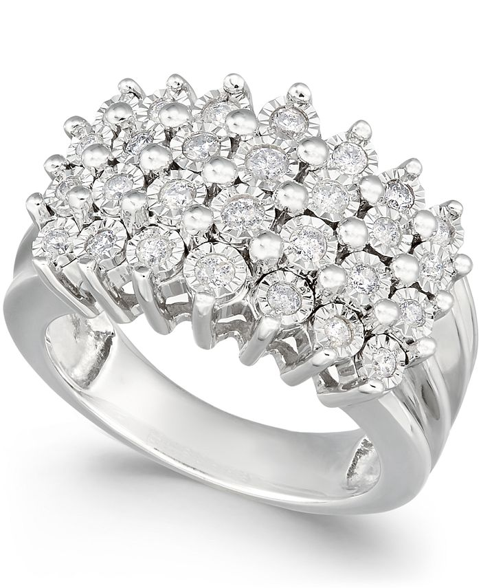 Macy's - Diamond Multi-Row Ring (1/2 ct. t.w.) in Sterling Silver