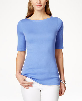 Charter Club Pima Cotton Boat Neck T Shirt Only At Macy S