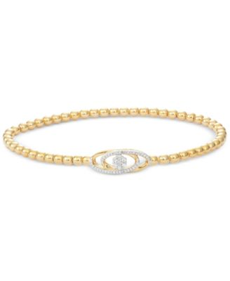 Diamond Cluster Stretch Bead Bracelet (1/6 ct. t.w.) in 14k Gold over Sterling Silver, Created for Macy's