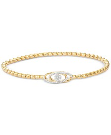 wrapped™ Diamond Cluster Stretch Bead Bracelet (1/6 ct. t.w.) in 14k Gold over Sterling Silver, Created for Macy's