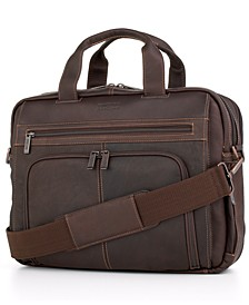 Columbian Leather Expandable Double Gusset Laptop Briefcase