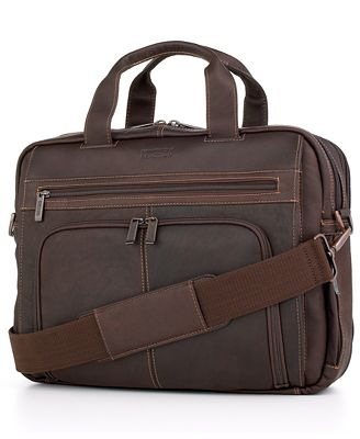 Kenneth Cole Reaction Columbian Leather Expandable Double Gusset Laptop Briefcase