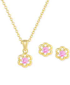 Children's Cubic Zirconia Flower Jewelry Set in 18k Gold over Sterling Silver