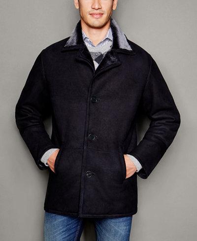 The Fur Vault Mens Shearling Notch-Collar Coat